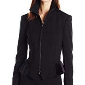 Anne Klein 10 Black Peplum Jacket Faux Fur NWT